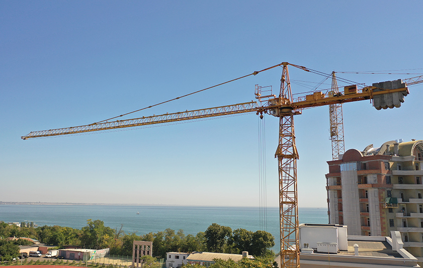 The tower crane is installed